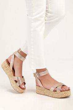 2e63e1da274 Zodiac Gold Flatform Espadrille Sandals