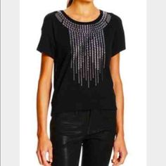 "BCBG Max Azria Talin Embellished top Brand new with tags BCBG Max Azria ""Talin"" short sleeve top; metallic stud embellishment at neck and center front; banded trim at sleeves and hem; great look for concerts BCBGMaxAzria Tops Tees - Short Sleeve"