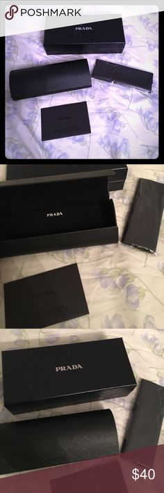 New Prada Box and Glasses Case with Lens Cloth Brand new box and glasses case. Authentic Prada. Comes with lens cleaning cloth. Prada Accessories Sunglasses