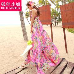 free shipping V-neck racerback fashion summer chiffon bohemia dress full beach dress spaghetti strap one-piece dress YU930 $44.17