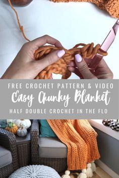 Chunky Crochet Blanket Pattern Free, Chunky Yarn Blanket, Crochet For Beginners Blanket, Blanket Crochet, Knitting For Beginners, Chunky Crochet Blankets, Knit Blankets, Crochet Stitches, Crochet Patterns