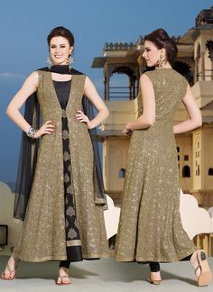 Cream & Black Eid Special Long Anarkali Suits  Buy this full catalog @ http://www.suratwholesaleshop.com/A6311-Cream-Velvet-Designer-Anarkali-Suit?view=catalog