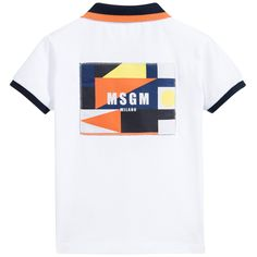 Boys white short-sleeved MSGM polo shirt with buttons at the front to fasten. Made in a soft stretch cotton piqué jersey, it has buttons at the front to fasten. The ribbed collar and trim have contrasting navy blue and orange stripes. On the back, it has large logo appliqué with a geometric print in tones of navy blue, yellow and orange.