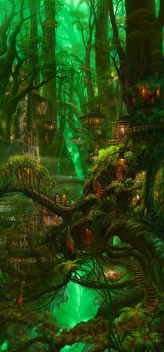 Favorite Places to Visit and Foods to Eat This is Ellsmera the elf city. [ ]The housed are made out of trees and nature is breathtaking.This is Ellsmera the elf city. [ ]The housed are made out of trees and nature is breathtaking. Fantasy Places, Fantasy World, Fantasy Forest, Magic Forest, Fantasy Life, Deep Forest, High Fantasy, Fantasy Trees, Fantasy Village