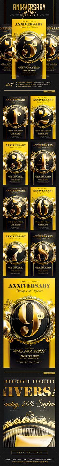 Golden Anniversary Flyer Template PSD