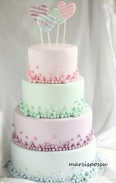 Marsispossu: Pastellisävyinen hääkakku, Wedding cake with pastel colors Pretty Cakes, Cute Cakes, Beautiful Cakes, Fondant Cakes, Cupcake Cakes, Fondant Bow, 3d Cakes, Fondant Tutorial, Fondant Flowers