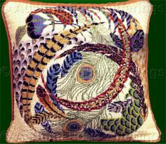 Checkout this amazing product Rare Conn Baker Gibney Swirling Feathers Needlepoint Pillow Kit Peacock Pheasant at Shopintoit