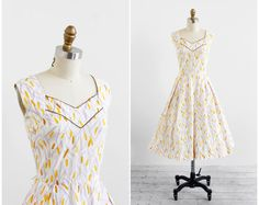 vintage 1940s dress / 40s dress / White Mustard by RococoVintage, $114.00