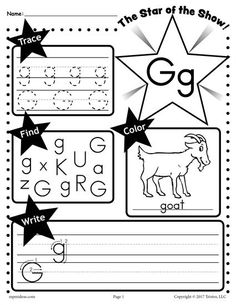 This FREE letter G worksheet has all kinds of fun letter G activities and is great for preschoolers and kindergartners to practice letter recognition, letter tracing, coloring, handwriting, and more! To get this letter G printable or the entire alphabet set go here --> http://www.mpmschoolsupplies.com/ideas/7700/free-letter-g-worksheet-tracing-coloring-writing-more/