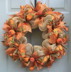 Fall Pumpkin Deco Mesh Wreath, Fall Wreath, Harvest Wreath, Autumn Wreath, Thanksgiving Wreath Burlap mesh base with pumpkin and orange ribbon and pumpkin accents. Fall Mesh Wreaths, Fall Deco Mesh, Diy Fall Wreath, Autumn Wreaths, Wreath Crafts, Deco Mesh Wreaths, Wreath Ideas, Halloween Mesh Wreaths, Ribbon Wreaths