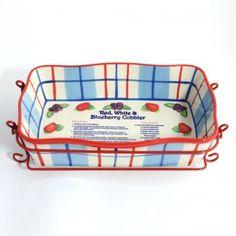 temp-tations® Red, White & Blueberry 11x7 Cobbler Dish