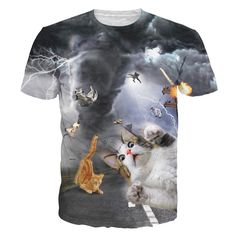 Alisister New Fashion Women/men Funny Cat T Shirt Print Animal 3d T-shirt Casual Mens Cartoon T Shirt Fighting Cat Tee Shirts #Compare #Popular