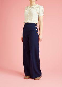 30'er-inspirerede bukser med høj talje og træknapper - navy