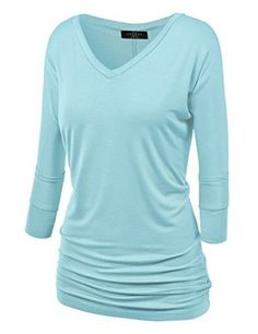 Sale:	$11.95 MBJ Womens 3/4 Sleeve Drape Top with Side Shirring - Made in USA