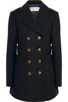 Burberry Brit Double-breasted wool-blend twill peacoat in Midnight-Blue