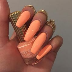 Nails, acrylic summer nails coffin, acrylic nails stiletto, peach nails, or Acrylic Summer Nails Coffin, Peach Acrylic Nails, Nails Yellow, Acrylic Nails Stiletto, Peach Nails, Cute Acrylic Nails, Acrylic Nail Designs, Cute Nails, My Nails