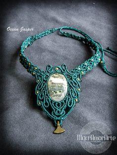 NEW Ocean Jesper Macrame necklace. Ocean jasper por MacrAmorArt