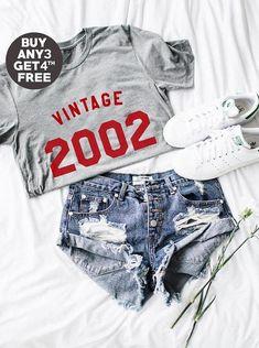 Vintage Shirt 16th Birthday Gifts Shirt 2002 Birthday Ladies Graphic Tees Women Tshirt Tumblr Birthday Funny Quote Shirt Men Tshirt Women