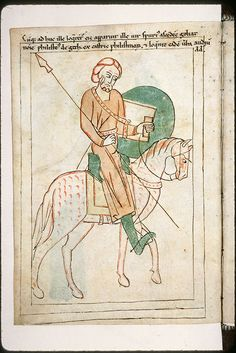 Navarre Picture Bible, Pamplona, Spain, 1197AD: Goliath on horse