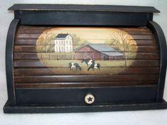 Wood Bread Box Roll Top Primitive Folk Art Saltbox Farm Cow Kitchen Decor Rjpe | eBay
