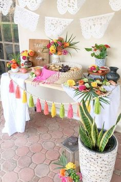Check out this fun Cinco de Mayo fiesta! The dessert table is fabulous! See more party ideas and share yours at CatchMyParty.com Dessert Table Backdrop, Dessert Tables, Table Decorations, Fiesta Cake, Fiesta Party, Party Themes, Party Ideas, Backyard Picnic, First Birthday Themes