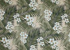 Plumeria Palm Tropical Botanical Vintage Hawaiian Fabric Hawaiian plumeria flowers, barkcloth fabric.