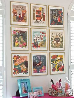 Create a framed gallery wall with calendar art and other project ideas for old calendars.