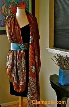 Long Scarf Through Belt. i love this idea Scarf Belt, Designer Scarves, Long Scarf, Scarf Styles, Make Your Own, That Look, How To Memorize Things, Kimono Top, Feminine