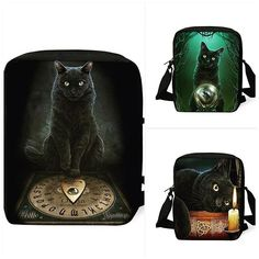 The Mystic Cats Backpack Collection  Shop here www.wearable-tattoo.com Witch Fashion, Dark Fashion, Cat Backpack, Online Fashion Stores, Pastel Goth, Instagram Fashion, Emo, Mystic, Steampunk