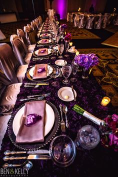 Purple wedding, silver beaded chargers, silver chair covers, purple rosette linens, Greek Wedding Purple And Silver Wedding, Purple And Black, Scottsdale Resorts, Purple Color Schemes, Purple Cakes, Wedding Table Settings, Place Settings, Sophisticated Wedding, Centerpieces