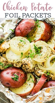 Tender and crisp this chicken and potatoes foil packets dinner recipe is a hearty and healthy foil packet dinner idea that is great for grilling, baking in the oven, or cooking over a campfire! Oven Chicken And Potatoes, Oven Chicken Recipes, Chicken And Potatoe Recipe, Potato Recipes, Potatoe Dinner Recipes, Healthy Grilled Chicken Recipes, Chicken Meals, Grilled Meat, Foil Packet Dinners