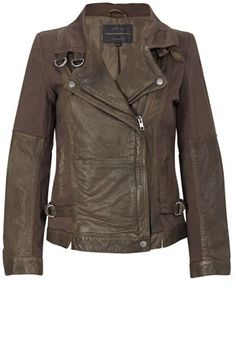 French Connection- i love me a short pleather/leather jacket. i want one in every color of the rainbow.