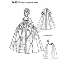 Misses' costume gown pattern. Once selected, we custom print pattern and instructions on one sheet of durable premium paper. Pattern is then hand packaged and shipped directly to your doorstep.