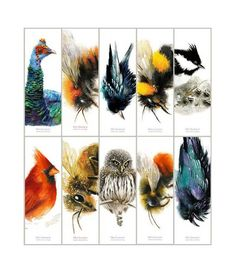 Animal Bookmarks - Set of 10 different bookmarks from original watercolors. Raven And Wolf, Crows Ravens, Bookmarks, Insects, Bee, Watercolors, Unique Jewelry, Handmade Gifts, Honey