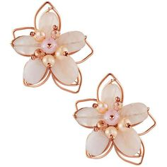 Nakamol Beaded Flower Stud Earrings found on Polyvore featuring jewelry, earrings, accessories, brincos, jewels, pink, beaded jewelry, 14 karat gold earrings, beads jewellery and clear crystal earrings
