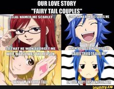 Jellal gave Erza her name, Gray always saves Juvia, Natsu brought Lucy to Fairy Tail. and Gajeel tried to kill Levy. Yeah, he's got some work to do. Fairy Tail Ships, Fairy Tail Meme, Fairy Tail Nalu, End Fairy Tail, Fairytail, Gruvia, Gajevy, Zeref, Manga Anime