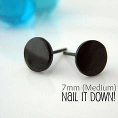 Mens Earrings Black Stud For Men Nail It Down Gold Plated Over Silver Disc Goth Or Gothic Style No 420s