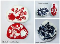 folk art, handmade, painted, stone I love the traditional Hungarian folk art motifs, so I wanted to paint them on the stones because I was curious to see how they look on them.First I have drawn the motif on the stone and after I have painted with a tiny brush. I have used acrylic