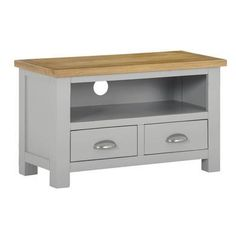 Buy Linden Grey Farmhouse TV Unit Stand with Light Oak Top from - the UK's leading online furniture and bed store Light Oak, Tv Unit, Online Furniture, Drawers, Farmhouse, Cabinet, Living Room, Storage, Grey