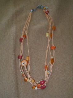 Chico's multistrand rawhide like beaded necklace orange #Chicos #Beaded