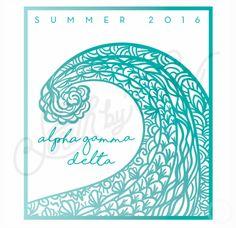 Alpha Delta Gamma | AGD | Summer 2016 | Wave T-Shirt Design | Hand Drawn T-Shirt…