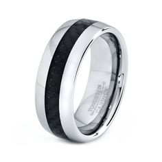 Mens Tungsten Carbide Wedding Band Ring 8mm Carbon by GiftFlavors, $47.77 #wedding #groom #ring #band #men #tungsten #carbide