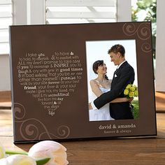OMG I LOVE this Frame! It's just like their canvas print - It's beautiful wedding vows molded into the shape of a heart and it comes in 3 different colors. You get to add your names or anything you want on the 2 lines underneath the photo and it's only $28.95! This is totally going to be my new go-to gift for weddings! #Wedding