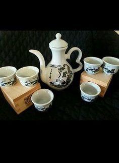 Vintage Japanese Tea Sake Set Signed White Crane Herring