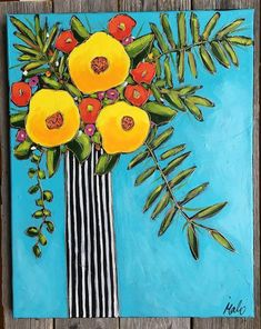 Original acrylic painting on canvas, black and white flowers vase with yellow and red flowers, home decor, mother's day gift - Mixed Media artwork - Acrylic Painting Canvas, Canvas Wall Art, Painting Abstract, Acrylic Artwork, Abstract Portrait, Diy Canvas, Abstract Landscape, Flower Vases, Flower Art