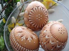 Easter Eggs Pysanky Set of 3 Decorated Brown Chicken by EggstrArt, $36.95
