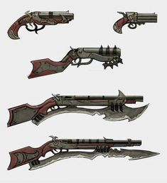 Generally, Pirates get their gear by taking them from their enemies, but some like to get creative. Steampunk Weapons, Sci Fi Weapons, Weapon Concept Art, Fantasy Weapons, Weapons Guns, Fallout, Armes Futures, Armadura Medieval, Future Weapons