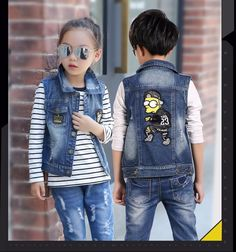 3805cae0e F8009# Latest Fashion Leisure Children Unisex Cartoon Embroidery Polo  Collar Cowboy Vest Denim Jeans Wholesale