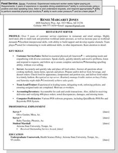 Food Service Worker Resume Modern Design Waitress Resume Example  Resume Example  Pinterest