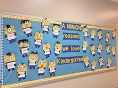 A minion reasons we love kindergarten. Kids cut out patterns and then put them together. They had fun with creative minion hair. They are holding a paper that says what they love most about kindergarten.